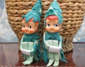 Pair of Green Leafy Vintage Knee Hugger Elves