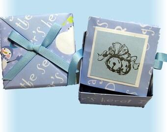Snowman, Mini Photo Booklet in a Box, Blue, Wintery, Tea Box, Accordian Folded Mini Scrapbook, Tea Gift Box