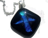 Angel pendant necklace abstract design in blue glass