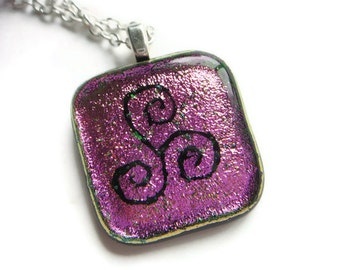 Celtic design megalithic art necklace made in Ireland