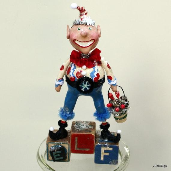 Folk Art  Whimsical Christmas Elf  Collectible Art Doll