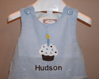 Birthday Cupcake Shortall JonJon Monogrammed Blue Gingham