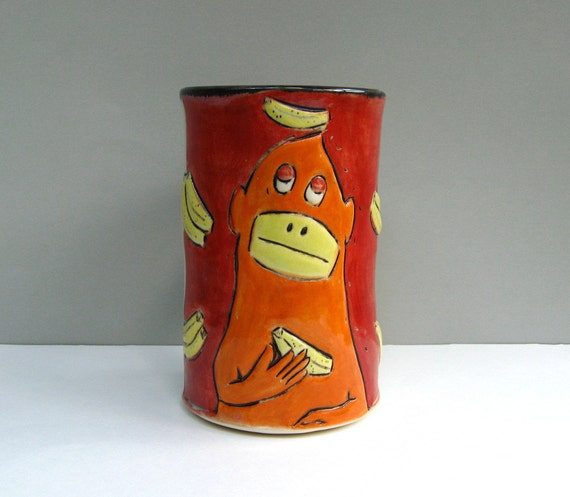 Monkey Mug, Large, Red and Orange With Thoughtful Monkey, Coffee Cup