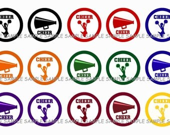 INSTANT DOWNLOAD...Cheer...Cheerleaders.... 1 Inch Circle Image Collage for Bottle Caps...Buy 3 get 1