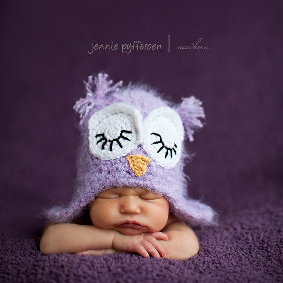12-24 month size purple fuzzy sleeping owl hat with earflaps
