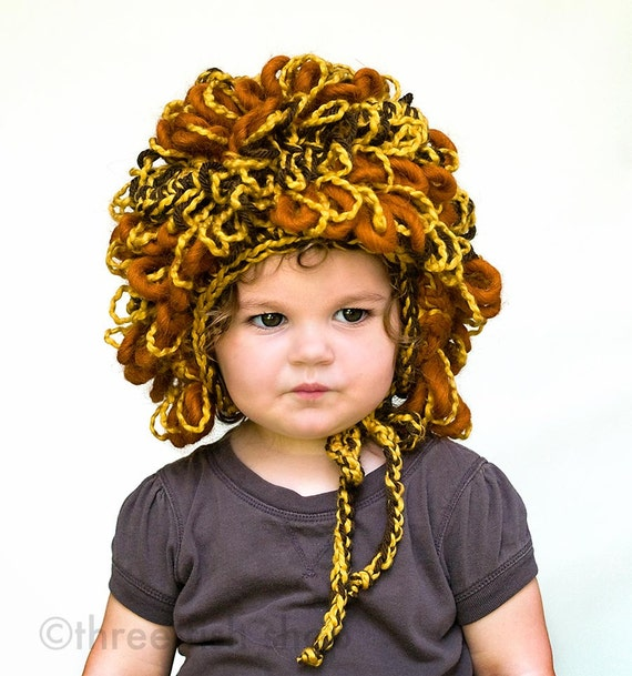 Little Lion Costume Hat - Organic Cotton Merino Wool Alpaca - Boy Halloween Costume - Fall Autumn Photo Prop - Halloween Photo Prop
