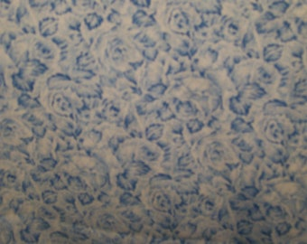 """Blue Flowers Fabric  100% Cotton 44"""" Wide By The Half Yard 1/2"""