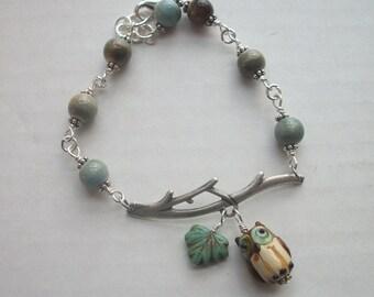 Porcelain Owl Twig Bracelet - Ceramic Beads