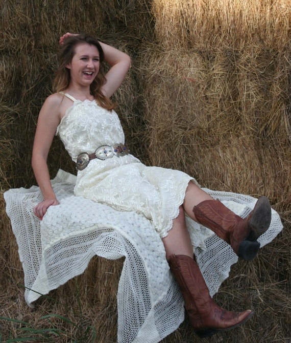 Love Me a Farm Boy - Ecru Lace Dress - Casual Wedding - Backyard Wedding - Barn Wedding - Romantic Lace Dress