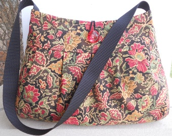 "The ""SADIE"" Purse in Midnight Tapestry... with Pleats and Gusseted Bottom"