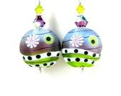 Purple & Green Earrings, Lampwork Earrings, Beadwork Earrings, Colorful Glass Earrings, Lampwork Jewelry, Abstract Earrings - Arcade