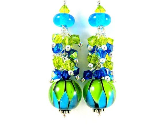 Blue and Green Earrings, Turquoise Lime Glass Earrings, Lampwork Earrings, Crystal Earrings, Neon Earrings - Electromagnetism