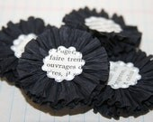 4 Black Crepe Paper Flowers w/Vintage French Text Centers