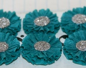 6 Small Dark Teal Crepe Paper Rosettes w/German Silver Glass Glitter Centers