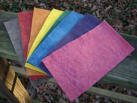 Rainbow Felt Skinny Stack with Taupe Brown--Wool Rayon Felt--4 by 8 Inches--Plant Dyed