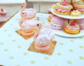 Pink 'Biscuit de Reims' Pastry Swan - 12th Scale Miniature Food