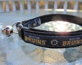 Boston Bruins Cat  or Small Dog Collar with Option of Black or Pink Backing