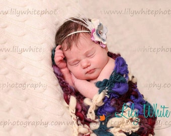"""Limited Edition Thick and Thin Handspun Photography Prop Blanket- """"Playful""""      ---READY To SHIP---CLEARANCE"""