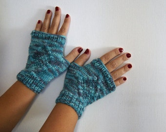 blended guanti senza dita blu e melange