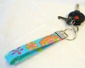 Wristlet Key Fob Kaffe Fassett Fabric Keyring Keychain Floral Sprays Bright Turquoise Hot Pink Handmade MTO