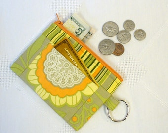 CLEARANCE SALE! Amy Butler Fabric Zipper Coin Purse Card Slot Key Ring Fob Lotus Fabric Wallet Change Purse Lacework Sage Yellow Orange