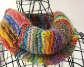 Hand Spun, Hand Knit Cowl, Infinity Scarf, Random Colors,  FREE US SHIPPING