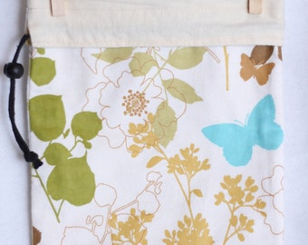 Project Bag, Fabric Gift Bag, Teal Butterfly, Flowers and Plants, Cream and Tan, large