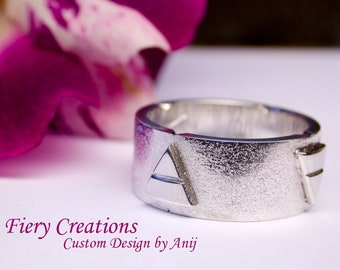 """Elemental Ring or """"Ring of the 4 Elements"""" - Sterling Silver Custom Designed Ring with Hand Engraving"""