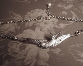 Silver chain anklet swallow with fresh water white pearl adjustable bird feather ankle bracelet