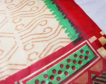 semi sheer printed sari GRAPHIC, Bollywood Saree, festival tent, boho  clothing, gypsy fabric, Indian clothing, ethnic clothes