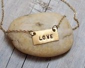 Brass Hand Stamped LOVE Necklace