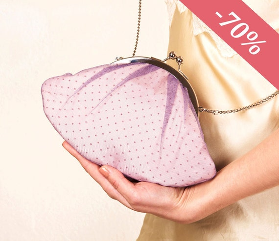Mauve Lizzy clutch bag with chain strap- SALE