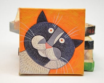 Tiny acryllic painting of Trijntje the curious cat - made to order within 7 days