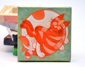 Tiny acryllic painting of two cats sleeping - yin yang - made to order within 7 days