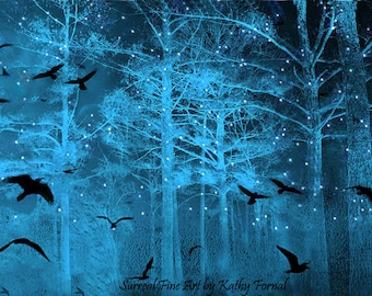 Surreal Nature Photography, Fantasy Blue Starry Nature, Birds Ravens Gothic Nature, Fairytale Fantasy Blue Ravens Stars Nature Wall Print