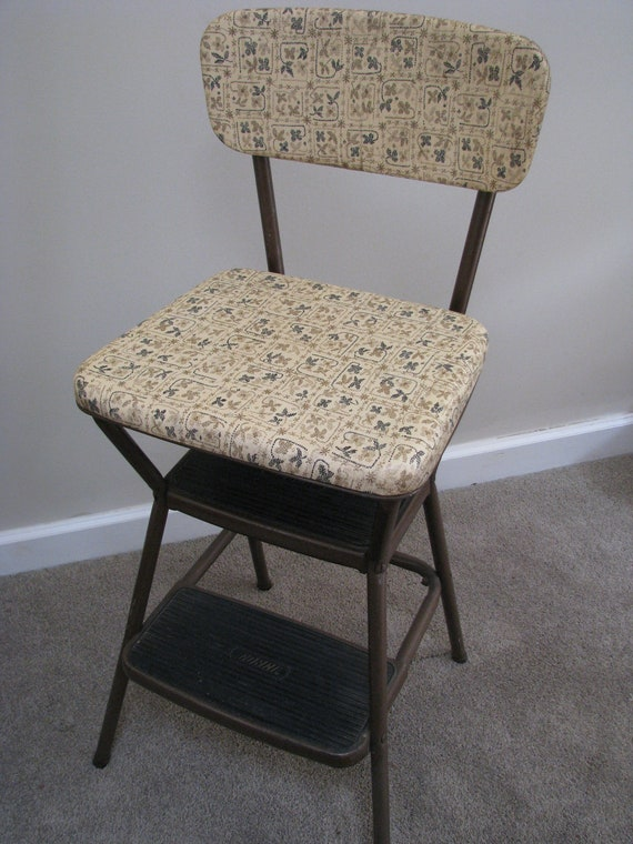 Vintage Cosco Vinyl Padded Flip Up Seat Step Stool Chair