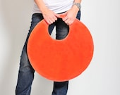 Large tote bag, large clutch,orange handbag, large leather handbag, grey bag, double color