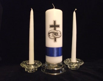 Unity candle cross and wedding rings  with ribbon to match your wedding colors