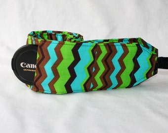 Ready to ship Monogramming not avaliable Wide Camera Strap for DSL camera turquoise, green and brown chevron with lens cap pocket