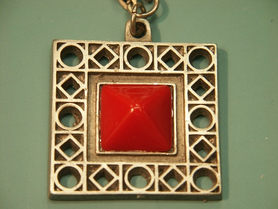 Modern style vintage 1960s swedish handcrafted pewter pendant necklace with red glass square bead