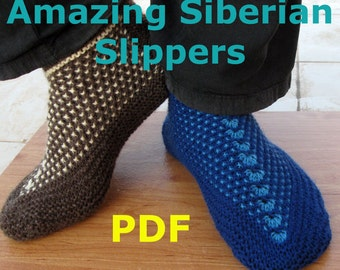 Knitting Pattern - Amazing Siberian Slippers - PDF pattern - Seamless Slippers knit flat on 2 needles - Easy to knit