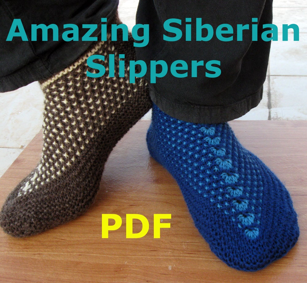 Knitted Bed Socks Pattern Easy : Knitting Pattern Amazing Siberian Slippers PDF pattern