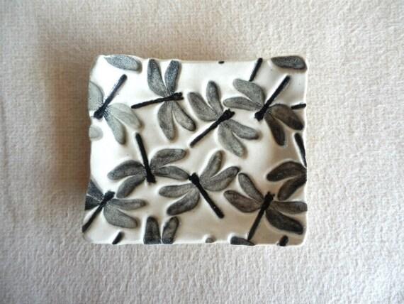 Lovely Square Black & White Stoneware DRAGONFLIES Dish