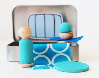 My Pocket Place - Blue - Choose Your Color - Waldorf and Montessori Inspired Pretend Play Doll House Toy