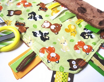 Forest Friends - Fiddle Fab Learning Lovey - a Sensory Security Blanket for Little Hands