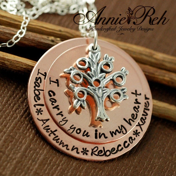 Hand Stamped Necklace - Tree of Life - Personalized Jewelry - Family Tree - Copper Necklace