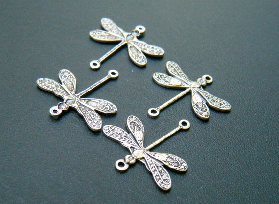 Trinity Brass Dragonfly Connectors in Antique Silver 4 Pieces TB F653 AS