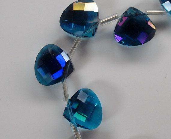 Chinese Crystal Briolettes Aqua AB (cc-Aqua-AB) 5 beads