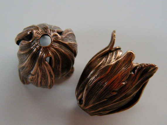Copper Tulip Bead Caps Leaf Pendant 3 Pieces AS A130 12