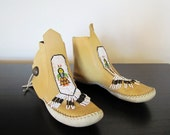 Vintage 1970s Beaded High Top Moccasins